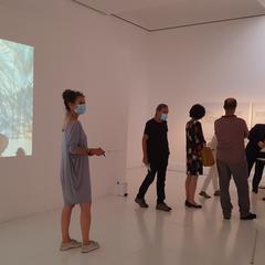 Franz Moser bei Werk und Lernstation von Maria Seisenbacher und Interviewvideo Sung Min Kim